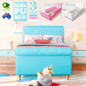 Kids Bed Frame Bed single size Girls Boys PU Leather Diamond/button Furniture