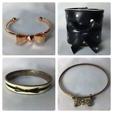 Vtg Lot/4 Assorted Styles Brands Bracelet Jewelry Enamel Bangle Cuff with Bows