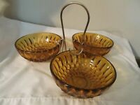 Mid Century Modern 3 Bowl Condiment Set Snack Set Amber Glass