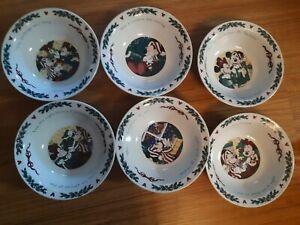 Vintage Set of 6 Disney Twas The Night Before Christmas Mickey Mouse Bowls