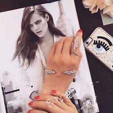 New Jewelry Zircon Hand Cuff Leaf Crystal Palm Bracelet Wedding Bangle Ring Set