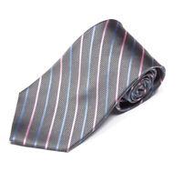 New BROOKS BROTHERS Sleek! Gray Blue Pink Striped Men's Silk Neck Tie NWT