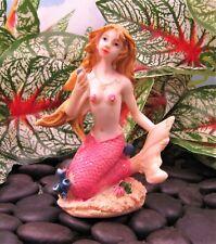 Miniature Fairy Garden Sitting Mermaid w/ Pink Tail - Buy 3 Save $5