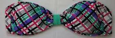 California Waves Bikini Top Sz L Green Multi Plaid Bandeau Swim Bra STRAPLESS