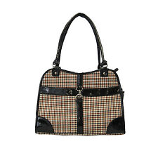 Cat/Dog Puppy Kitten Fashion Houndstooth Print Travel Purse Tote Bag Carrier Bk