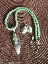 Navajo (F Tahe) Sterling Rare Green Lab Opal Inlay Aventurine Necklace Set