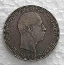 CRETE -PRINCE GEORGE SOLID SILVER 5 DRACHMAI 1901(a) - KM # 9 FINE OR BETTER