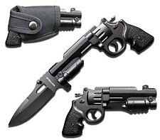 Rogue River Tactical Black Pistol Revolver Gun Folding Pocket Knife with Holster