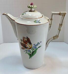 Early Meissen Porcelain Hand painted Floral Coffee Tea Pot Marcolini c.1780
