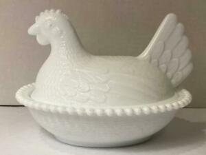 Pressed Milk Glass Hen on Nest Basket Candy Dish VERY GOOD CONDITION