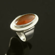 Danish Oval Silver Ring w/ Amber -N. E. From- VINTAGE