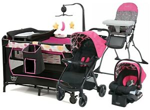 Baby Girl Stroller with Car Seat Newborn Child High Chair Playard Combo Travel