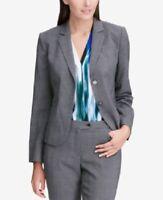 Calvin Klein Women's Glen Plaid Two-Button Blazer Suit Jacket, Gray, Size 6, NwT
