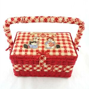 Raggedy Ann Andy Red White Plaid Sewing Basket with Tray Insert Simon Schuster