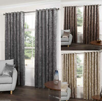 Sundour Plush Heavy Crushed Velvet Lined Ready Made Eyelet RingTop Curtains Pair