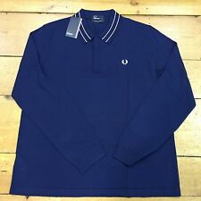 Fred Perry Tramline Tipped Knitted Shirt K1502 French Navy - XL