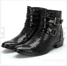 Mens Snakeskin Shoes Buckle Pointed Toe Chelsea Formal Ankle Boots Black Size 10