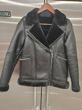 Zara Faux Leather Shearling Fur Aviator Biker Winter/Fall Coat Jacket Sz S Black