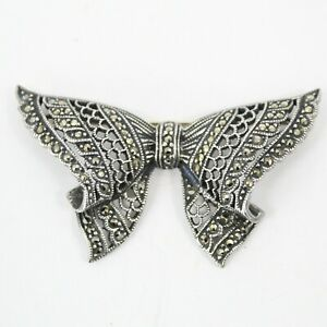 Judith Jack Signed JJ Sterling Silver Marcasite Bow Brooch Pin