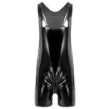 Mens Metallic PVC Leather Bodysuit Zipper Crotch Jumpsuit Boxer Shorts Leotard