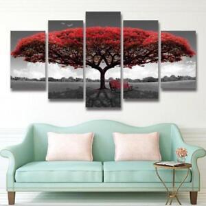 Home Decor Canvas Print Painting Wall Art Modern Red Tree Scenery Bench YO
