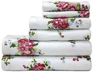 Harwoods Floral, Rose 100% Portuguese Cotton Towels, Face, Hand or Bath