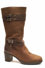 2330#Ara Leder Stiefel Gr 40,5 (UK7) Braun Oil Nubuk Schaftlänge 30 cm Absatz 50
