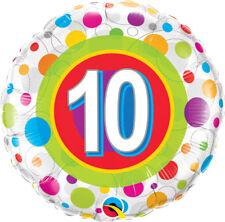 "10th BIRTHDAY PARTY SUPPLIES 18"" AGE 10 COLOURFUL DOTS QUALATEX FOIL BALLOON"