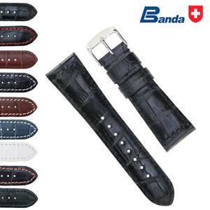 Banda Premium Grade Calfskin Alligator Grain Leather Watch Band (18mm-30mm)