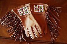 Cheyenne Native American Style Beaded Elk Leather Gauntlets Gloves