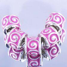 5pcs peachpink Enamel Silver Charm Bead Loose European Bracelet free shipping