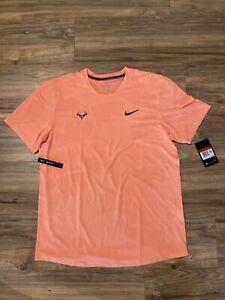 NWT  NIKE AeroReact Rafa Nadal Tennis Shirt Orange CU7916-892 Men's Large