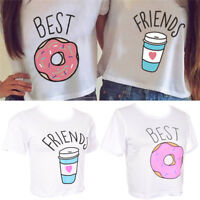 T-shirt Funny Best Friends T Shirt Donut And Coffee Duo Flowy Print Tees Couple@