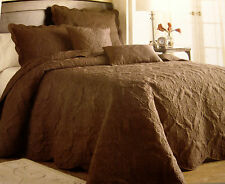 FULL - Victoria Classics - Genevieve Brown Quilted PILLOW SHAM & BEDSPREAD SET