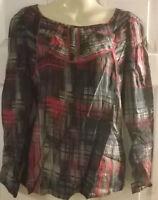 Ladies HOUSE OF FRASER DICKINS & JONES red/blue/grey print top Size 8,10,12