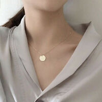 Coin Necklace Choker Dainty Delicate Chain One 1 Charm Disc Simple Sparkle Gold