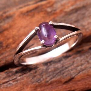 Natural Amethyst Gemstone 925 sterling Silver Handmade Ring Size US 8