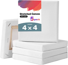 Ozazuco Stretched Canvas for Painting- 4X4 Inch, Pack of 5,White Blank Canvas, 1