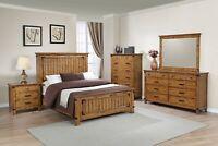 Modern Rustic 5-Piece Bedroom Set Wood Veneer Queen Size Panel Bed, Honey