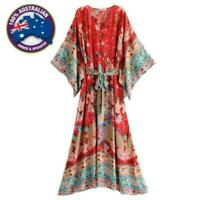 Vintage Red Blue Floral Bat Sleeve Boho Kimono Waist Tie V-Neck Long Maxi Dress