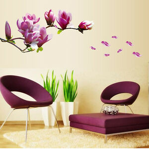 Wall Stickers Purple Magnolia Flower Bedroom Decor Parlor Wall Decals Removable