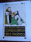 """""""Café COMPOSITION DES MOINES"""" Affiche originale de René VINCENT 1925"""