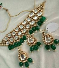 South Indian Fashion Real Kundan Green Bridal Necklace Earrings Jewelry Set Girl
