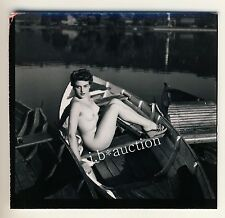 Stoccarda nudo il Max-Eyth-see Nude Girl Boating * 60s Seufert contact Print #7