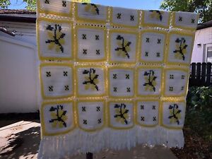 Vintage Afghan Granny Squares Blanket Yellow Daisy Throw Cross Stitch 50x80