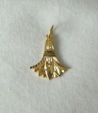 "Egyptian Lotus Flower 18K Yellow Gold Pendant 0.75"" Long"