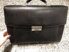 BALLY Black Leather Attache Briefcase Bag