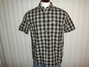 EUC! Men's CARHARTT RELAXED FIT Sz Large Gray Plaid Short Sleeved Camp Shirt
