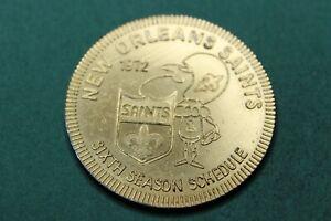 1972-TOKEN-MEDAL-NEW ORLEANS SAINTS-SCHEDULE-FALSTAFF BEER