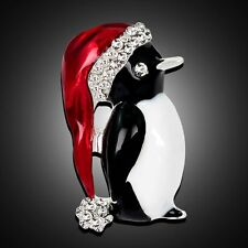 Unique Crystal Rhinestone Hat Penguin Enamel Brooch Pin Women Men Xmas Jewelry